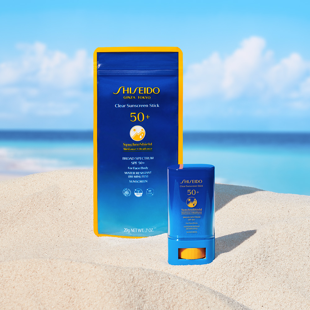 Shiseido Clear Sunscreen Stick pouch made from BioPBS